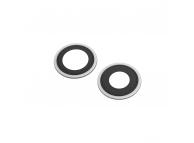 Geam Camera Spate Apple iPhone 12, Cu Rama, Set 2 Buc, Wide + UltraWide, Argintiu