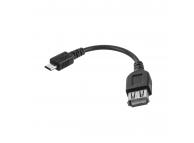 Adaptor OTG USB la MicroUSB OEM, 0.12 m, Negru