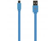 Cablu Date si Incarcare USB la MicroUSB Tellur Basic Flat, 1 m, Albastru TLL155011