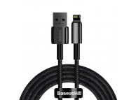 Cablu Date si Incarcare USB la Lightning Baseus Tungsten, 2 m, 2.4A, Negru CALWJ-A01
