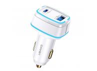 Incarcator Auto USB Usams C24, Quick Charge, 120W, 1 X USB - 1 X USB Tip-C, Alb CC142TC02