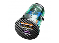 Incarcator Auto USB Usams C25, Quick Charge, 42.5W, 1 X USB - 1 X USB Tip-C, Gri Transparent CC127CC02