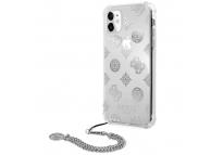 Husa Plastic - TPU Guess Chain Peony pentru Apple iPhone 11, Argintie GUHCN61KSPESI