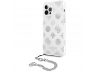 Husa Plastic - TPU Guess Chain Peony pentru Apple iPhone 12 / Apple iPhone 12 Pro, Argintie GUHCP12MKSPESI