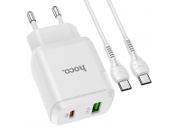 Incarcator Retea cu cablu USB Type-C HOCO N5 Favor, Quick Charge, 20W, 1 X USB - 1 X USB Tip-C, Alb