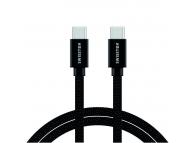 Cablu Date si Incarcare USB Type-C la USB Type-C Swissten Textile, 2 m, 3A, Negru