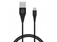 Cablu Date si Incarcare USB la MicroUSB Swissten, 1.5 m, Varianta Conector 9mm, Negru