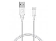 Cablu Date si Incarcare USB la MicroUSB Swissten, 1.5 m, Varianta Conector 9mm, Alb
