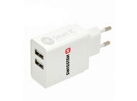 Incarcator Retea USB Swissten Travel, Smart IC, 3.1A, 2 X USB, Alb