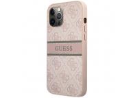 Husa Piele Guess 4G Printed Stripe pentru Apple iPhone 12 / Apple iPhone 12 Pro, Roz GUHCP12M4GDPI