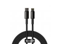 Cablu Date si Incarcare USB Type-C la Lightning Baseus Tungsten, 2 m, 20W, Negru CATLWJ-A01