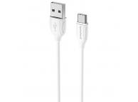 Cablu Date si Incarcare USB la USB Type-C Borofone Benefit BX19, 1 m, Alb