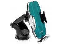 Incarcator Auto Wireless OEM HS2, QI 15W, Conectori Magnetici, IR, Verde Argintiu