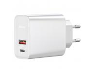 Incarcator Retea USB Baseus, Quick Charge, 30W, 1 X USB - 1 X USB Tip-C, Alb CCFS-C02