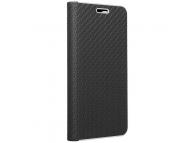 Husa Piele Forcell Luna Carbon pentru Samsung Galaxy A22 LTE, Neagra