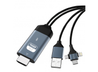 Cablu Audio si Video HDMI la USB / Lightning / USB Type-C / MicroUSB DEVIA Storm 3in1, 2 m, Negru