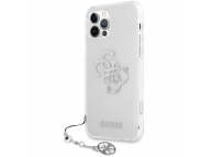 Husa Plastic - TPU Guess Big 4G Logo Silver pentru Apple iPhone 12 / Apple iPhone 12 Pro, Transparenta GUHCP12MKS4GSI