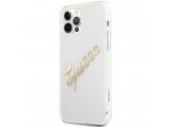 Husa Piele Guess Vintage Script Gold Logo pentru Apple iPhone 12 / Apple iPhone 12 Pro, Transparenta GUHCP12MKTRSVGO