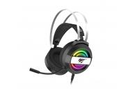 Casti Gaming HAVIT GAMENOTE H2026d, Cu microfon, USB, 3.5 mm, RGB, Negre