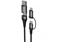 Cablu Date si Incarcare USB Type-C / USB la USB Type-C / Lightning Dudao L20xs, 1 m, 4in1, Gri