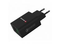 Incarcator Retea USB Swissten Travel, Quick Charge, 23W, 2 X USB, Negru
