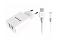 Incarcator Retea cu cablu Lightning Swissten Travel, Smart IC, 2.1A, 1.2m, 2 X USB, Alb