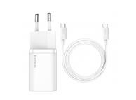 Incarcator Retea cu cablu USB Tip-C Baseus Super Si, 1m, Quick Charge, 25W, 1 X USB Tip-C, Alb TZCCSUP-L02