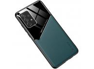 Husa Piele OEM LENS pentru Samsung Galaxy A22 5G, cu spate din sticla, Verde