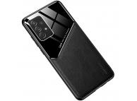 Husa Piele OEM LENS pentru Samsung Galaxy A22 5G, cu spate din sticla, Neagra