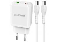 Incarcator Retea cu cablu USB Type-C BLUE Power BCN5, Quick Charge, 20W, 1 X USB - 1 X USB Tip-C, Alb