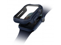 Husa Protectie Ceas UNIQ Torres 9H pentru Apple Watch Series 4 Aluminum / Apple Watch Edition Series 5 / Apple Watch Series 6, 44mm, Bleumarin