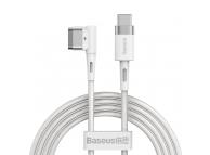 Cablu Incarcare USB Type-C - T MagSafe Baseus Zinc Angular L-Shape, pentru Apple MacBook Air 13 / Macbook Air 11 / Macbook Pro 14 / Macbook Air 17, Magnetic, 60W, 2m, Alb