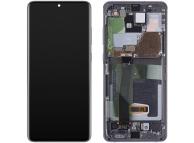 Display - Touchscreen Samsung Galaxy S20 Ultra / Samsung Galaxy S20 Ultra 5G, Cu Rama, fara camera frontala, Gri GH82-26032B