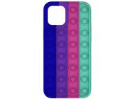 Husa TPU OEM Bubble Fidget Pop It pentru Apple iPhone 11, Anti-Stress, Verde Bleumarin