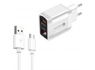 Incarcator Retea cu cablu MicroUSB OEM PD001A, Quick Charge, Afisaj, 20W, 1 X USB - 1 X USB Tip-C, Alb