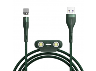 Cablu Incarcare USB la Lightning / USB Type-C / MicroUSB Baseus Zinc Magnetic, 1 m, 5A, Verde CA1T3-B06