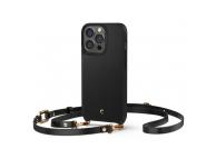 Husa TPU Spigen CYRILL CLASSIC CHARM pentru Apple iPhone 13 Pro, Cu Curelusa, Neagra