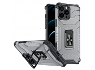 Husa Plastic - TPU OEM Crystal Ring Tough Armor Kickstand pentru Apple iPhone 13 Pro, Neagra