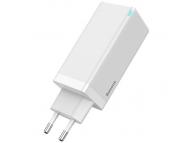 Incarcator retea USB Baseus GaN CCGAN-B02, 1 X USB - 2 x USB Tip-C, 65W, Quick Charge, Alb, Resigilat