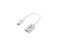 Adaptor OTG microUSB - USB 16cm alb