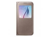Husa piele Samsung Galaxy S6 G920 S-View EF-CG920PF aurie Blister Originala
