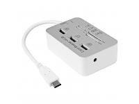 Hub si Cititor Card USB Type-C Combo Alb Argintiu