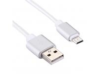 Cablu de date MicroUSB 2A 20cm Argintiu