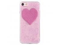 Husa silicon TPU Apple iPhone 7 Shiny Heart Roz