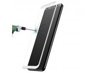 Folie Protectie ecran antisoc Samsung Galaxy S8+ G955 Baseus Tempered Glass Full Face 3D Alba Blister Originala