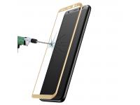 Folie Protectie ecran antisoc Samsung Galaxy S8+ G955 Baseus Tempered Glass Full Face 3D Aurie Blister Originala