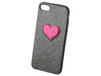 Husa silicon TPU Apple iPhone 7 Heart Glitter Neagra Rosie