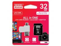 Card memorie GoodRam MicroSDHC 32GB Clasa 10 UHS-1 si cititor card OTG Blister
