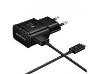 Incarcator retea cu cablu USB Type-C Samsung EP-TA20EBEC, Fast Charging, Negru, Bulk
