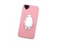 Husa silicon TPU Apple iPhone 7 3D Squishy Bear roz